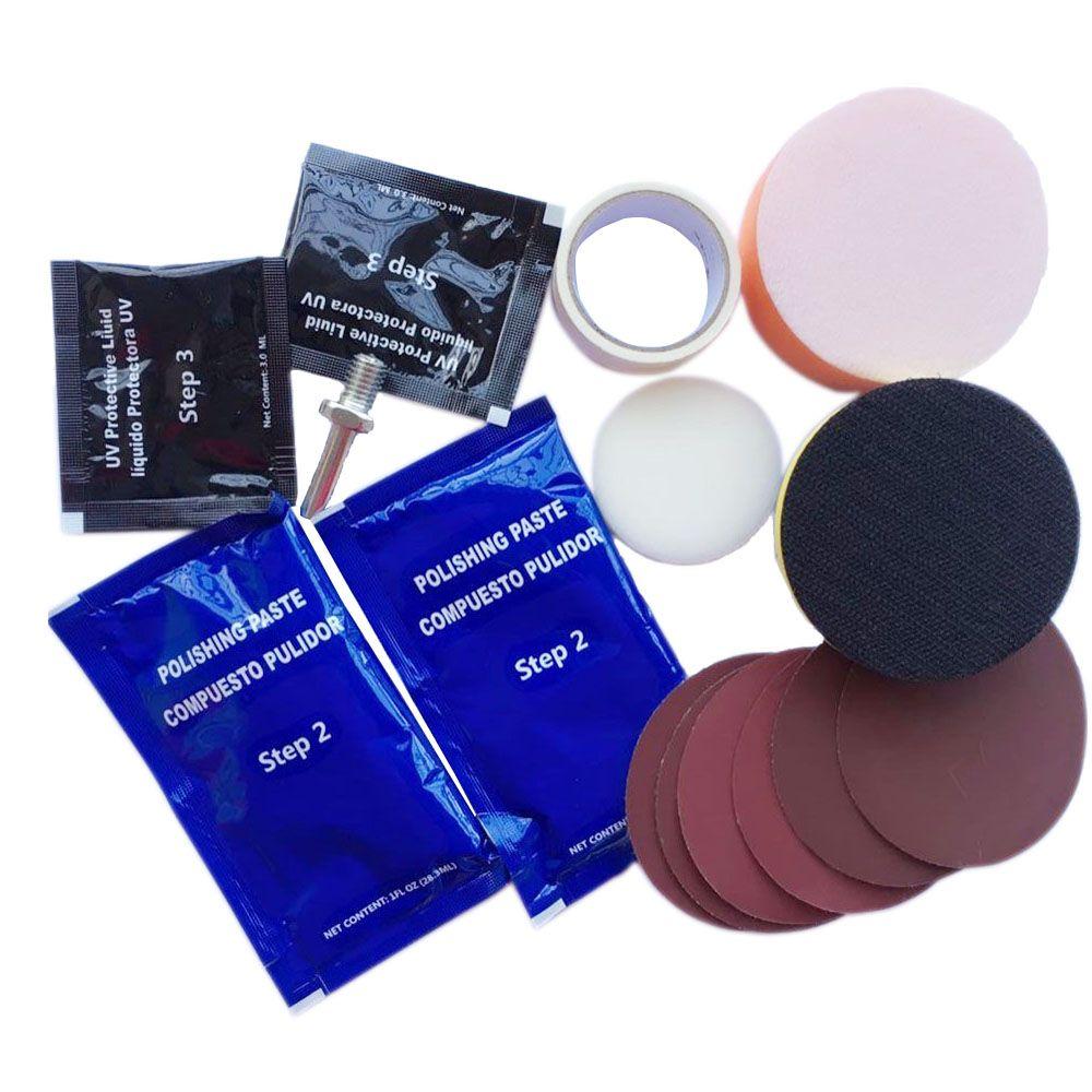 Headlamp Polishing Paste Kit DIY Headlight Restoration for Car Care Headlamp Pulidor UV Protective Liquid Repair Hand Tool Set