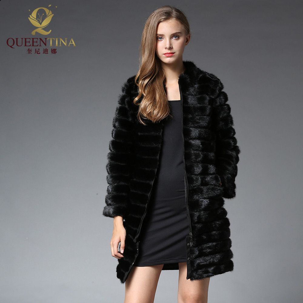 90CM Women X-Long Real Mink Fur Coat with Zipper Mandarin Collar Natural Mink Fur Jacket Russian Winter Genuine Mink Fur Coat