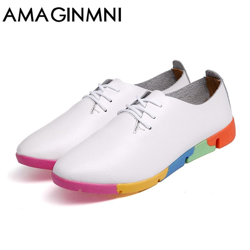 Autumn spring new lace-up leather women flat white shoes pointed toe plus size soft bottom leisure flat colorful shoes woman