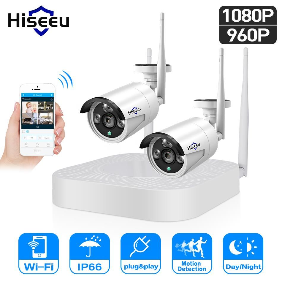 Hiseeu 4CH 960P/1080P Wireless CCTV System wifi 2pcs waterproof outdoor Bullet IP Camera Security video Surveillance Kits P2P