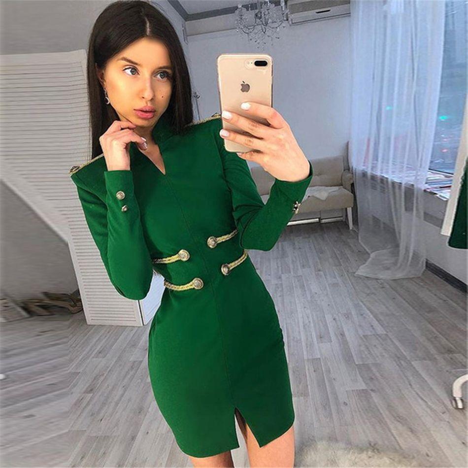 Seamyla 2019 nouveau printemps femmes robe élégante à manches longues célébrité soirée robes de soirée Sexy moulante Mini robe de Club Vestidos