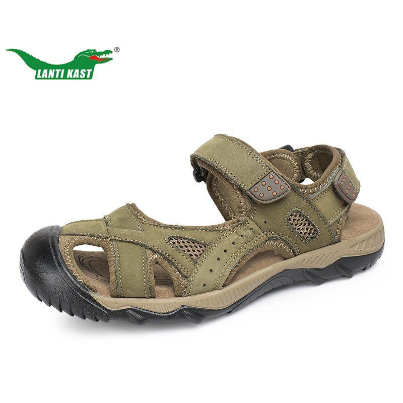 LANTI KAST Men Hiking Sandals Outdoor Leather Mountain Climbing Trekking Sport Shoes Rubber Anti-slippery Wear-resisting Sneaker