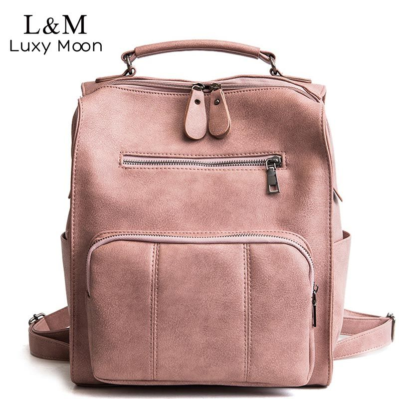 Women Leather Backpack Female Teenage Girls School Backpacks Vintage Large Multifunction Mochila Solid Shoulder Bag Black XA528H