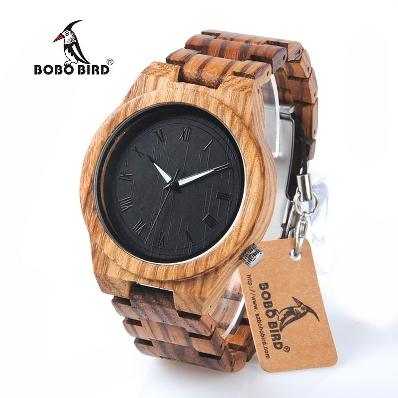 BOBO BIRD M30 Zebra Wooden Quartz Watch With Wood Band Lightweight Vintage Wooden Men Analog Luminous Pointers Watch