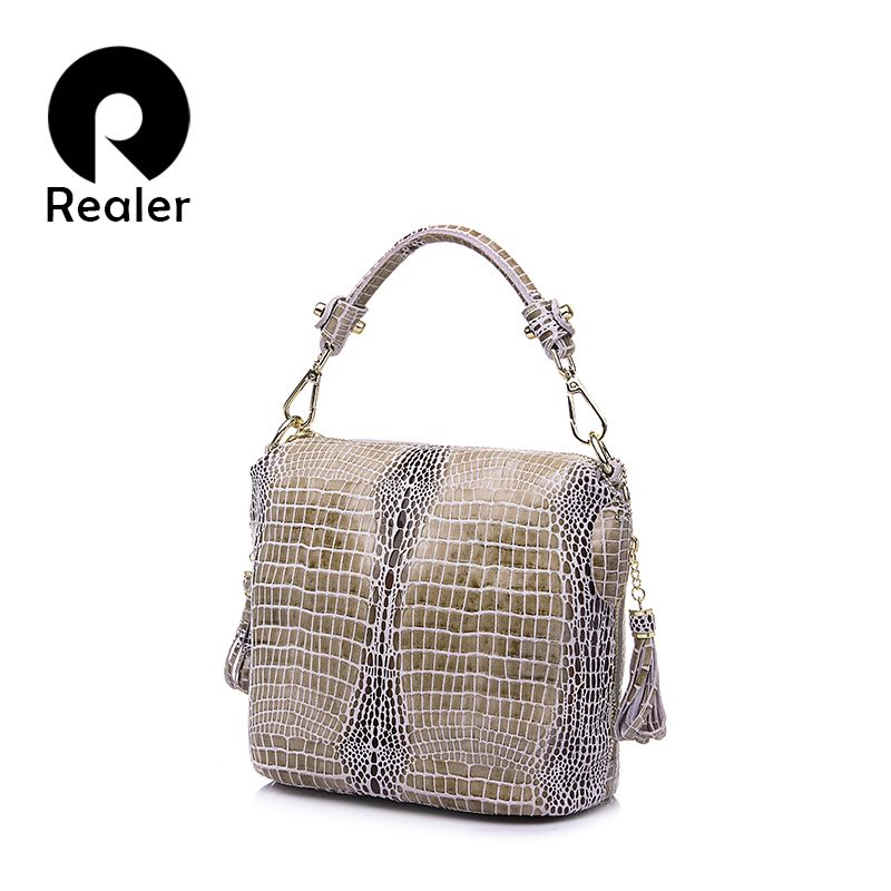 REALER genuine leather handbag women small totes shoulder crossbody bags ladies classic serpentine pattern leather bucket bag