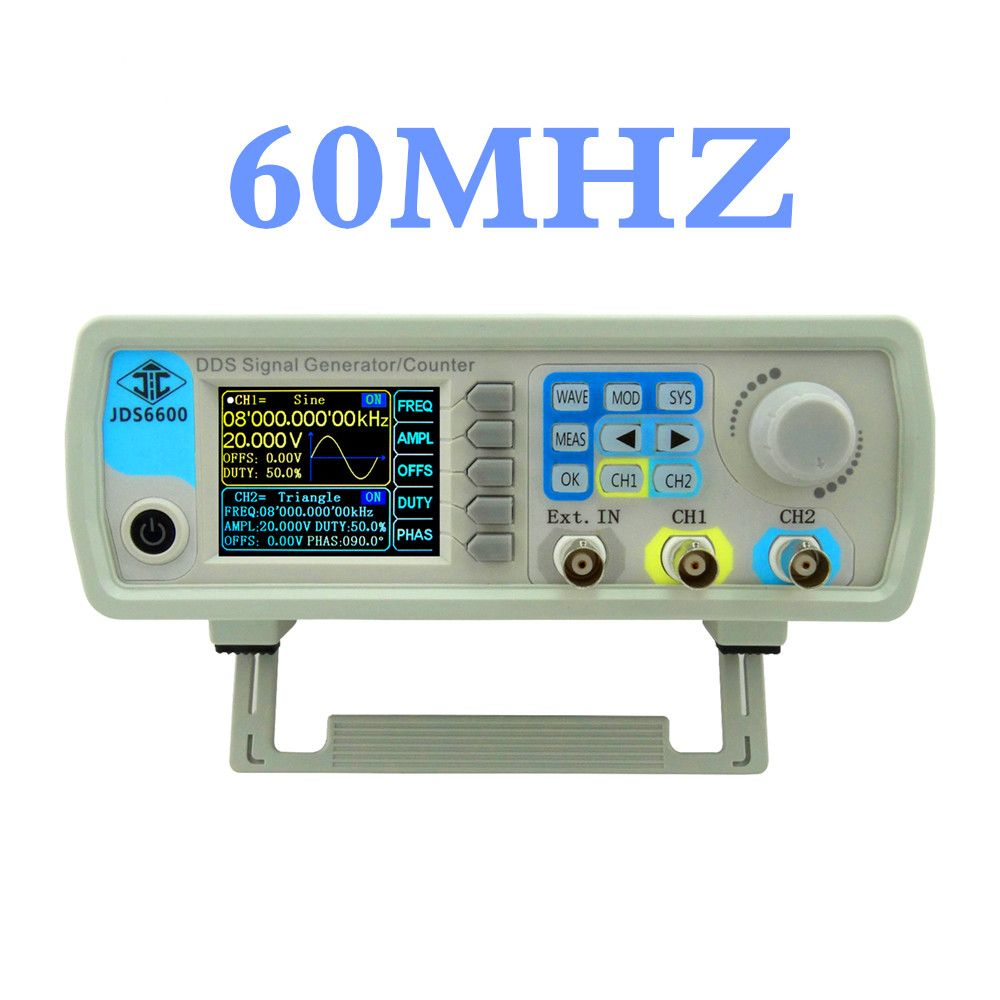 JDS6600 series DDS signal generator 60MHZ Digital Dual-channel Control frequency meter Arbitrary sine Waveform 44%off