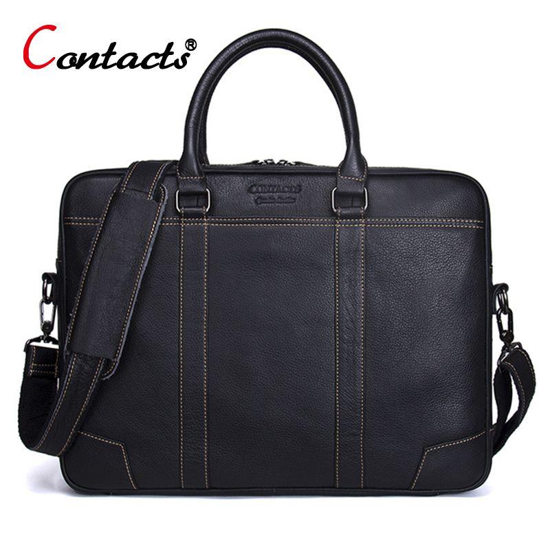 CONTACT'S Men Bag Genuine Leather Computer Tote Laptop Bag Handbag Briefcase Office Bags Male Designer Men Shoulder Bag New