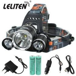 15000Lm XM-T6x3 LED Headlight ZOOM Flashlight Torch Camping Fishing Headlamp lantern +2* 18650 Battery +Car/AC/Charger+USB Cable