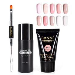 Canni Poly Gel Kit Slip Solution Nail Gel Polish Slice and Brush Nail Tool Finger Extension Nail Tips Nail Camouflage Gel