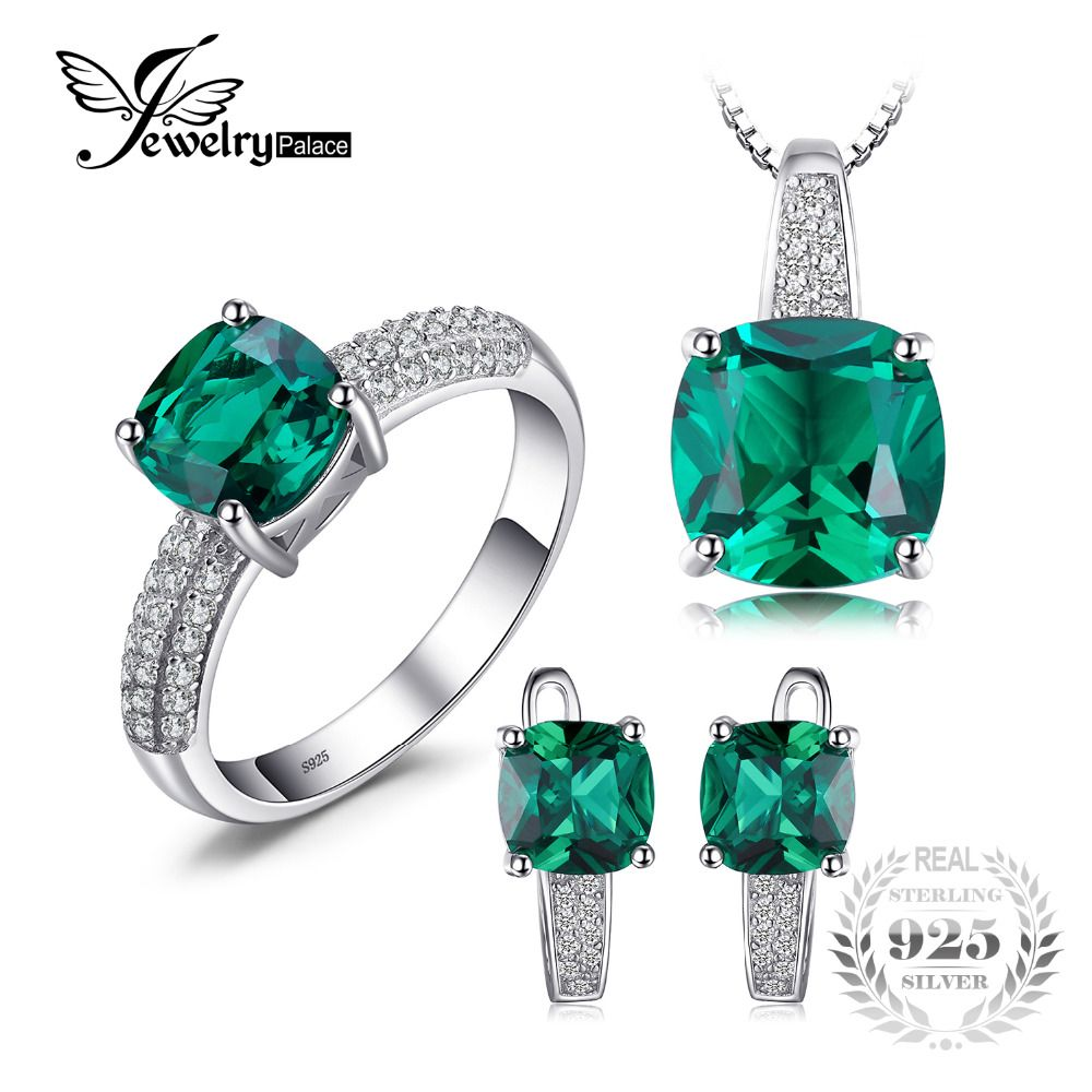 JewelryPalace 8.7ct Emerald Ring Pendant Clip Earrings <font><b>Jewelry</b></font> Set 925 Sterling Silver Fine <font><b>Jewelry</b></font> 45cm Box Chain