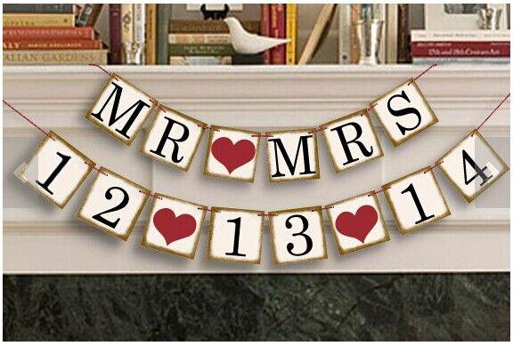 Bannière de banderoles de Date personnalisée enregistrer la Date coeur signes de mariage anniversaire guirlande anniversaire fête décoration accessoires Photo