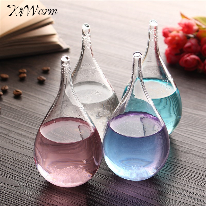 Kiwarm New Weather Forecast Crystal Tempo Drop Water Shape Rainstorm Glass For Home Decor Christmas Gift Party Ornaments Craft