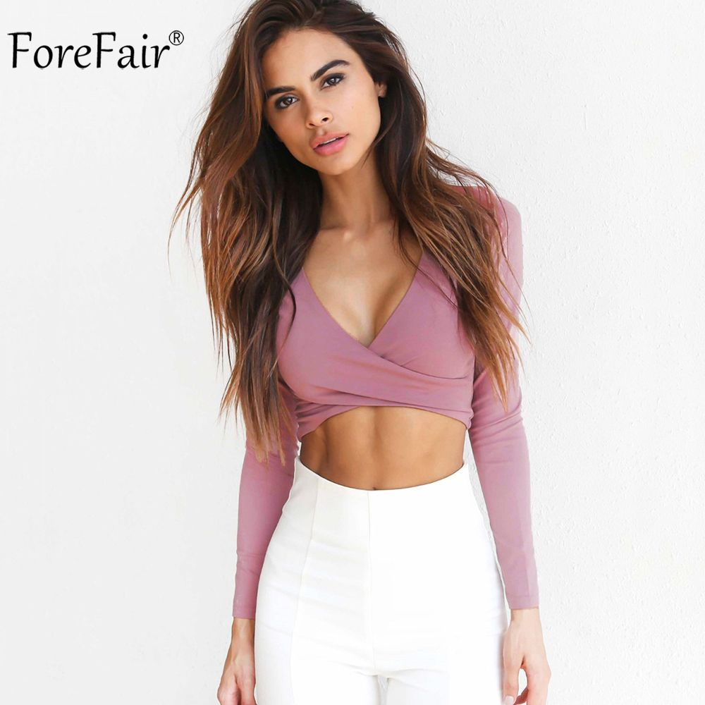 ForeFair 2017 Trend Cross V-neck Sexy Crop Top Women Slim T-shirt Black White Purple Long Sleeve T shirt