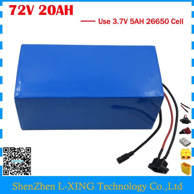 Hohe qualität 2500 watt 72 v 20AH Roller batterie 72 v 20AH Lithium-batterie 72 v Batterie pack 3,7 v 5AH 26650 Zelle 40A BMS Freies steuern