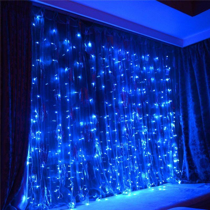 6 м x 3 м LED Шторы водопад гирляндой для рождественской вечеринки свадьбы Праздничное оформление Освещение сосулька водопад света 110 В /220 В