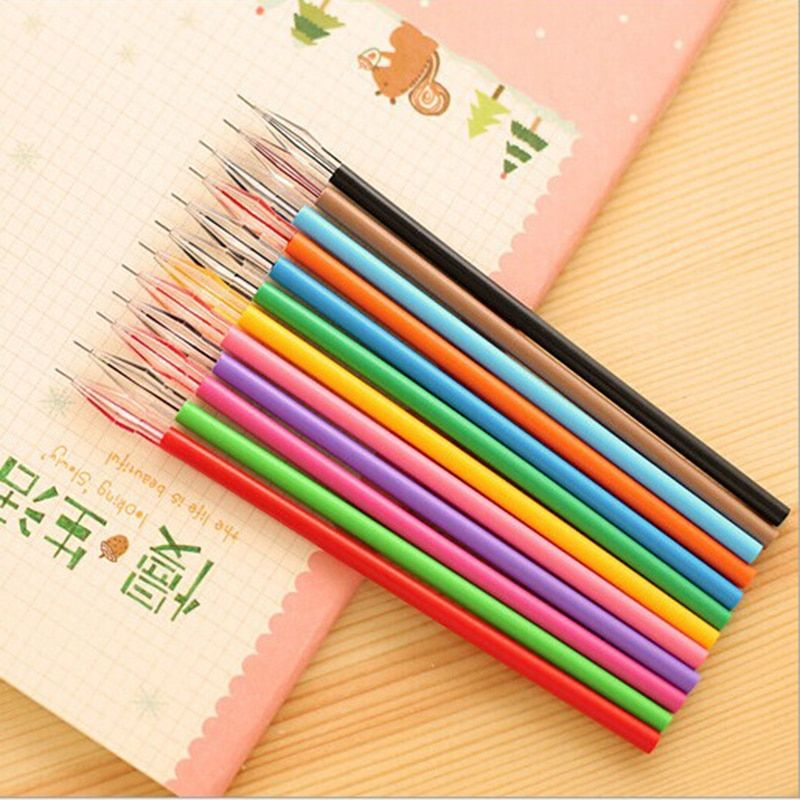 JONVON SATONE Pen Refill 12 Color/lot For Student Stationery Color Diamond Head Pen Core 0.5mm Wholesale