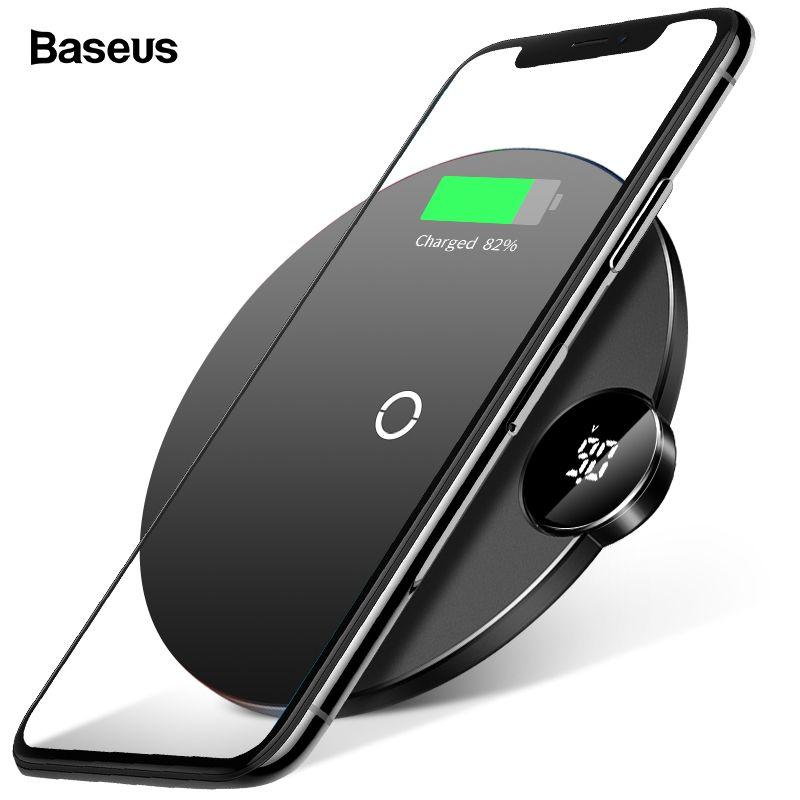 Baseus LED Qi Sans Fil Chargeur Pour iPhone Xs Max XR X 8 10 W Rapide Wireless Recharge Sans Fil Pad Pour samsung S9 S8 Xiaomi de MÉLANGE 3 2 s