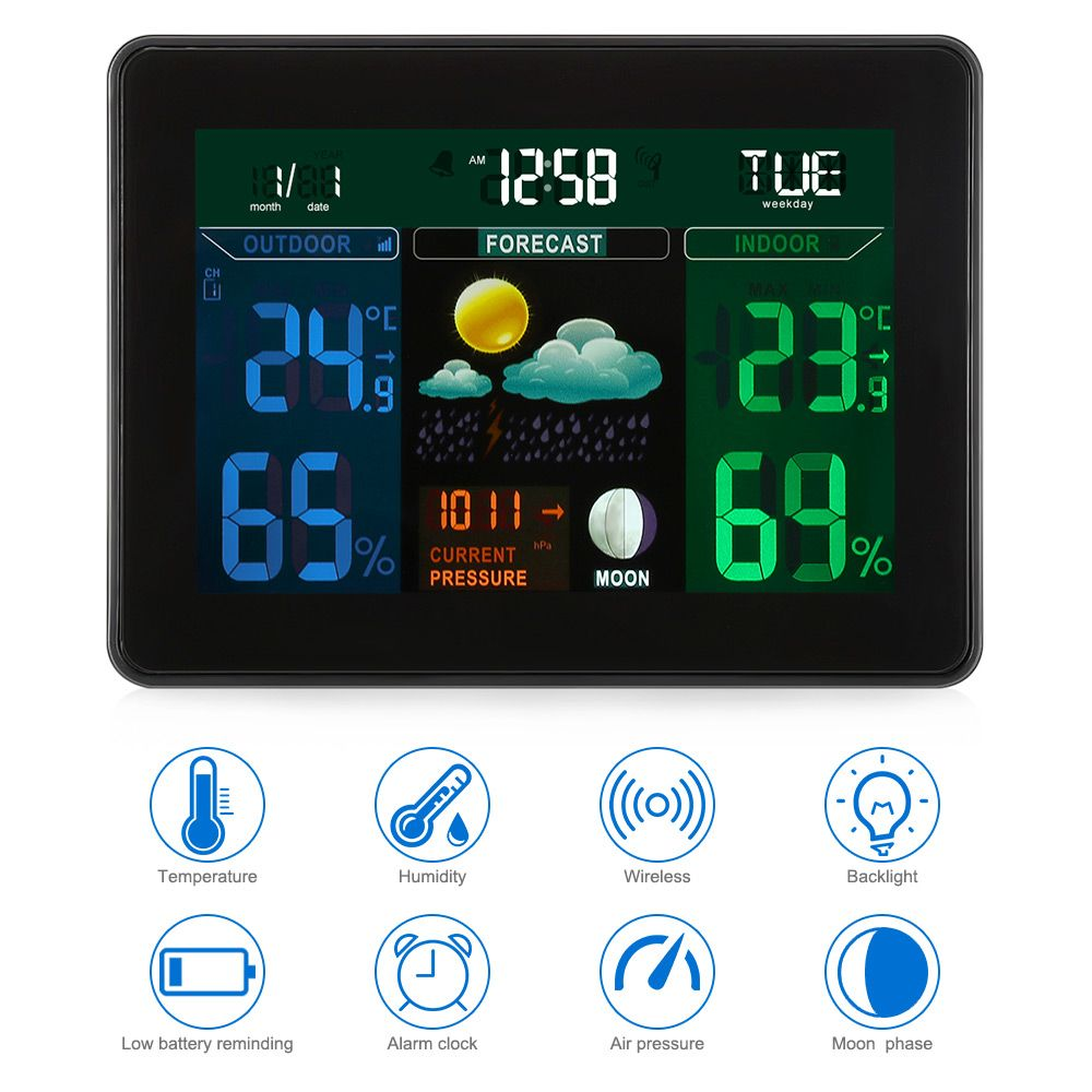 Digital LCD Termometro Weather Station Wireless Sensor Thermometer Electronic Temperature Hygrometer Meter IndoorOutdoor Monitor