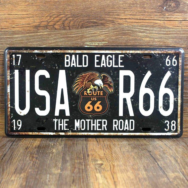 USA Route 66 la mère la route de plaque d'immatriculation Vintage Garage affiche de bidon en métal signes décoration murale House cafe Bar 15*30 cm