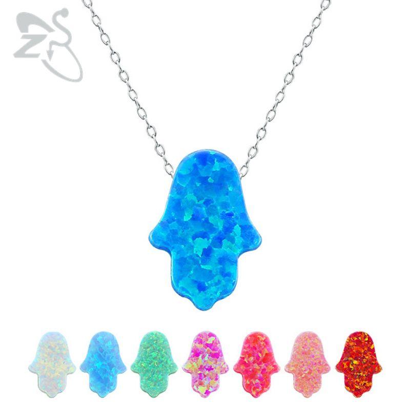 Opale Hamsa collier ras du cou Fatima main pendentif collier naturel opale pierre israël bijoux juifs 925 bijoux en argent Sterling