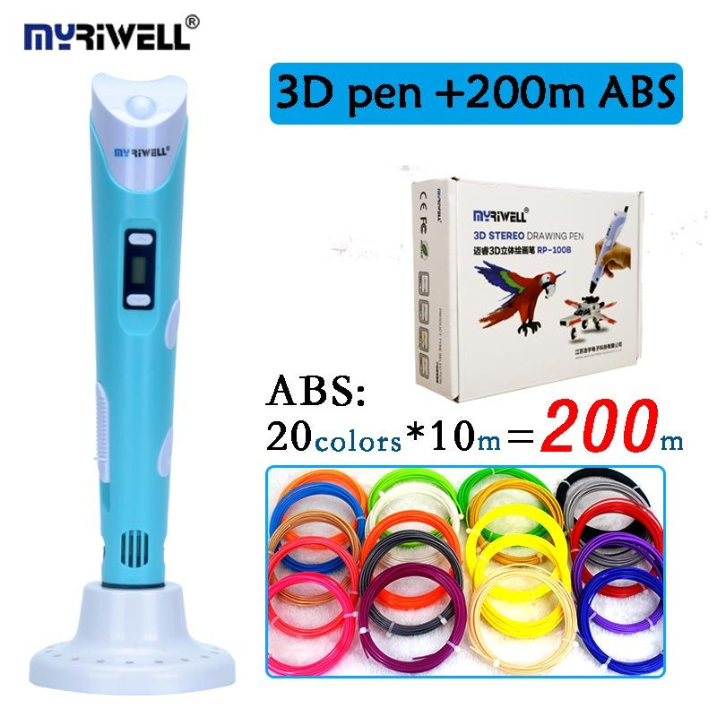 Original myriwell 3D pen 2nd generation RP-100B with ABS/PLA filament LCD display screen kid diy printing pen christmas gift