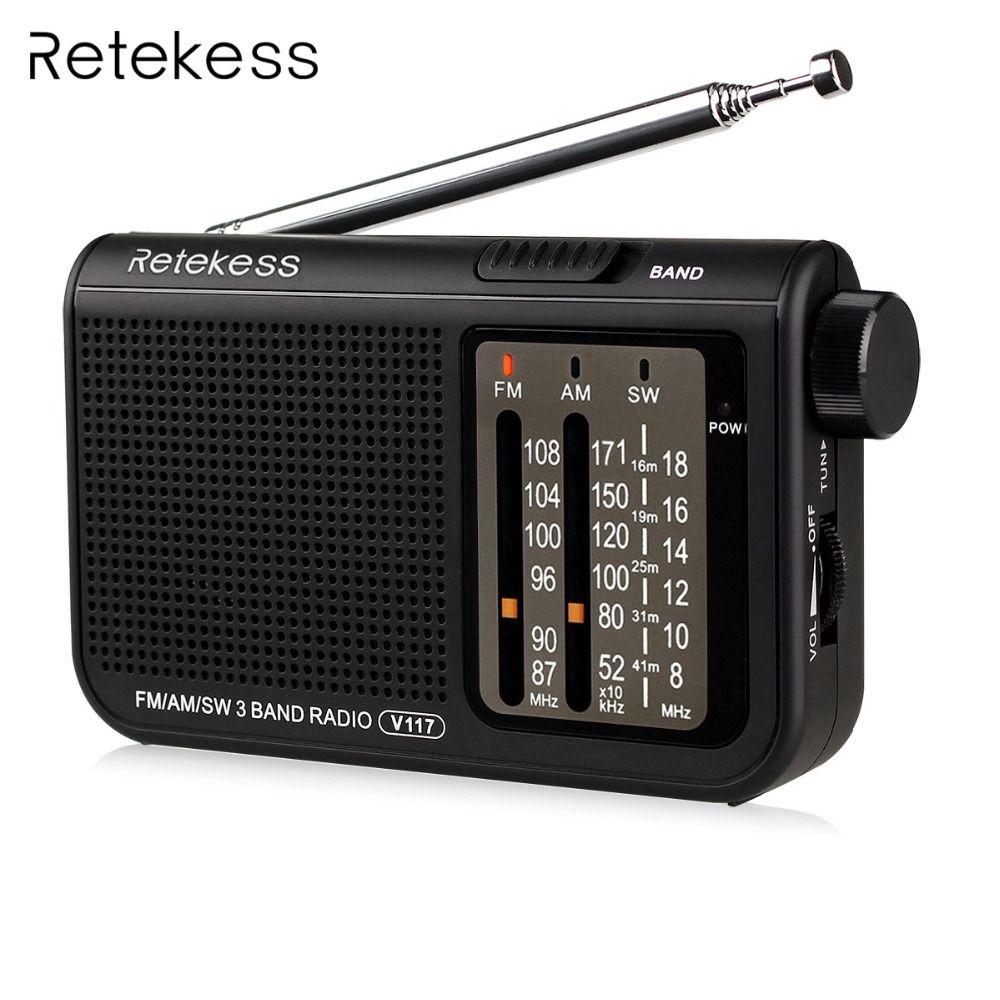 Retekess V-117 3 Bande FM/AM/SW Radio D'urgence Alimenté Par Batterie Récepteur Radio Portable Station de Radio F9207A