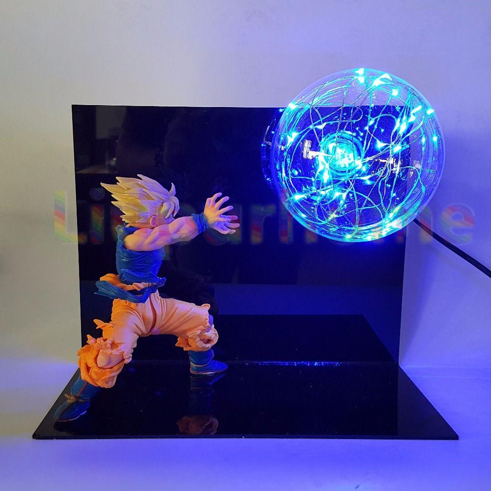 Dragon Ball Z Led Night Light Blue Flash Bulb Table Lamp Anime Dragon Ball Z Son Goku Desk Light Lampara Led Luminaria