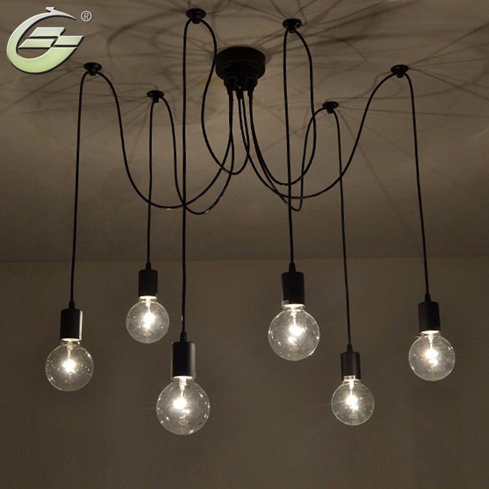 6 lumières réglables bricolage américain pays industriel entrepôt Vintage araignée lampes de plafond lampe pour la décoration de la maison salon