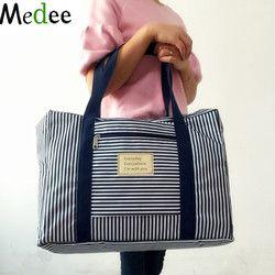 Medee 2017 nueva moda bolsa de viaje impermeable de gran capacidad de las mujeres del bolso plegable bolso de los hombres del equipaje de viaje bolsos de rayas punto TRA001