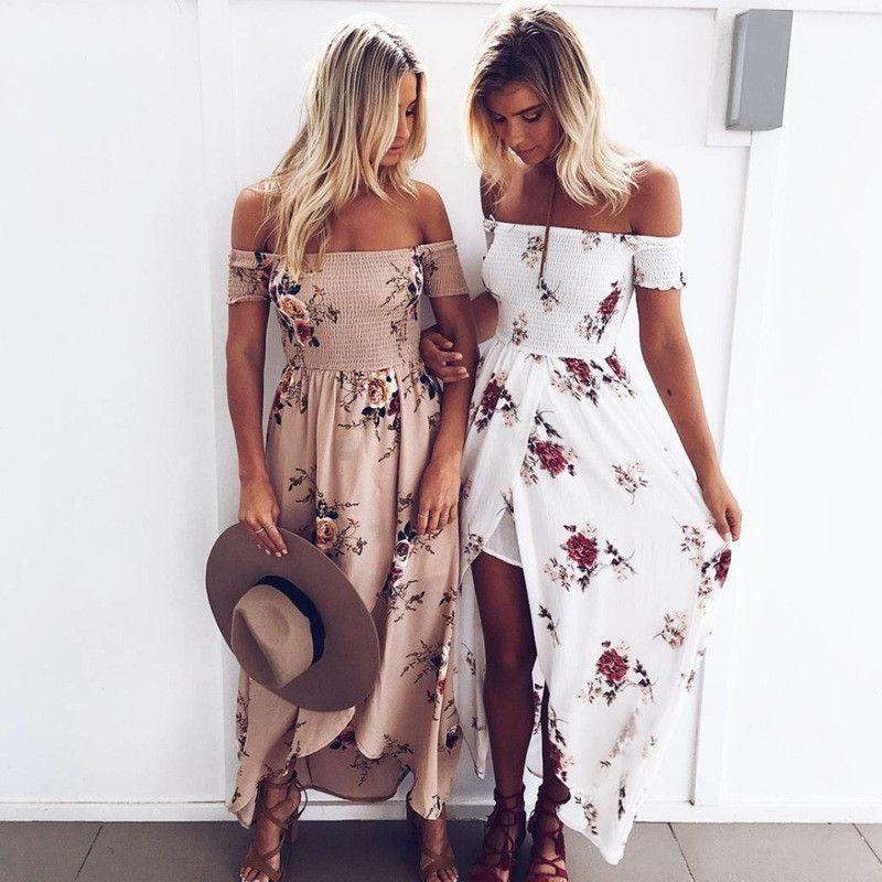 Elsvios mujeres de hombro floral imprimir Boho vestido moda playa verano Vestidos señoras sin tirantes vestido largo Maxi vestidos xs-5xl