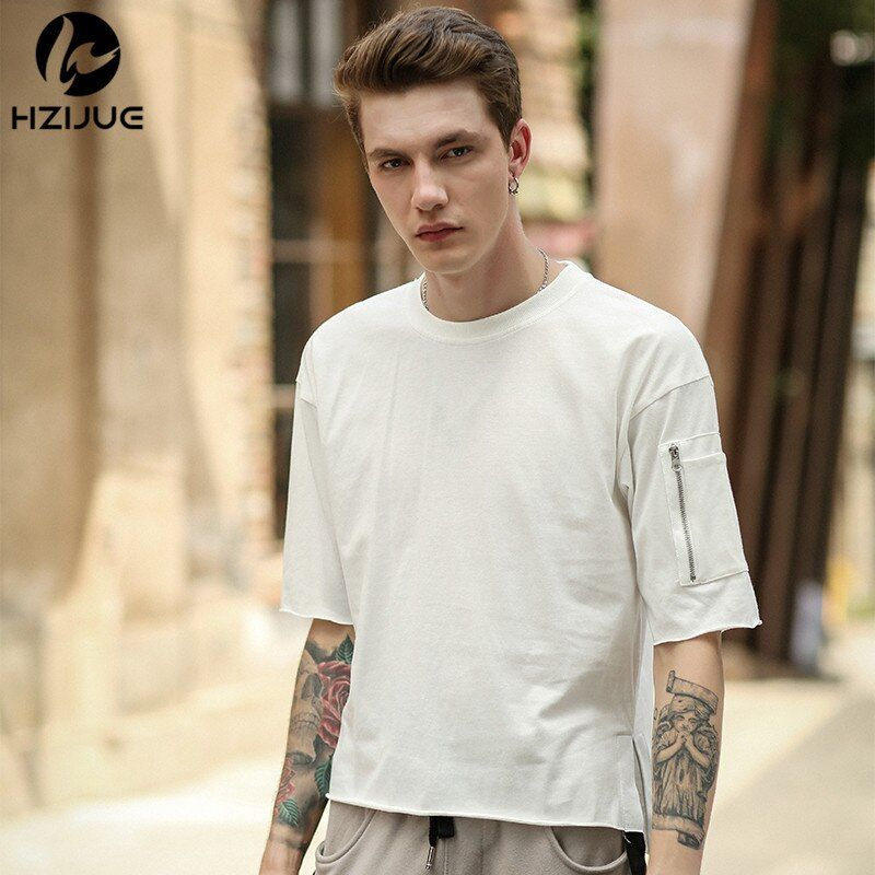 HZIJUE 2018 brand fashion zipper on sleeve t-shirts cotton t shirts mens new summer street wear hip hop pure color T-SHIRTS