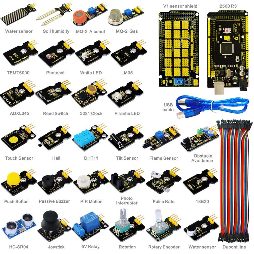 Free shipping!New Sensor Starter Kit For Arduino Education Project With Mega 2560+Shield V1+Sensors+Dupont cable+PDF(online)
