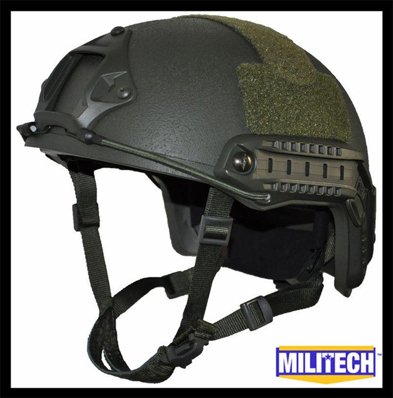 ISO Zertifiziert MILITECH OD OCC Zifferblatt NIJ Ebene IIIA 3A SCHNELLE High Cut Kugelsichere Kevlar Ballistischen Helm Mit 5 Jahre garantie