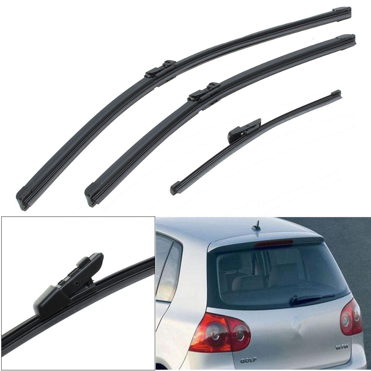 3Pcs/Set Front & Rear Window Windshield Wiper Blades For VW Golf Mk6 Hatchback 2008-2014