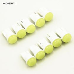 MOONBIFFY 10pcs Ceramic Car Interior LED T10 COB W5W Wedge Door Instrument Side Bulb Lamp Car White Source 12V