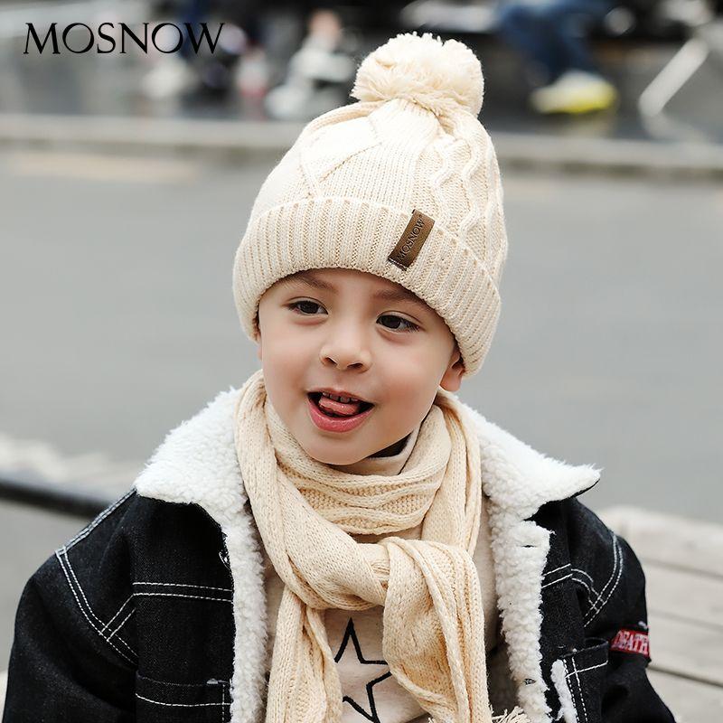 MOSNOW Chico Sombrero Y Bufanda Conjunto Rizo de Algodón de Invierno de Punto Pompón de piel Orejas Gorras de Punto Boy Casquillo Del Bebé Caliente de Espesor # MZ846