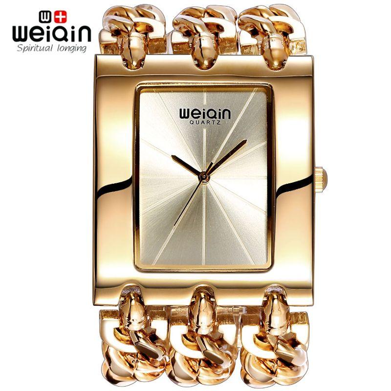 Weiqin mujeres oro Square Dial de plata reloj pulsera de cuarzo Ladies pulsera de cadena de relojes mujer reloj relogio feminino