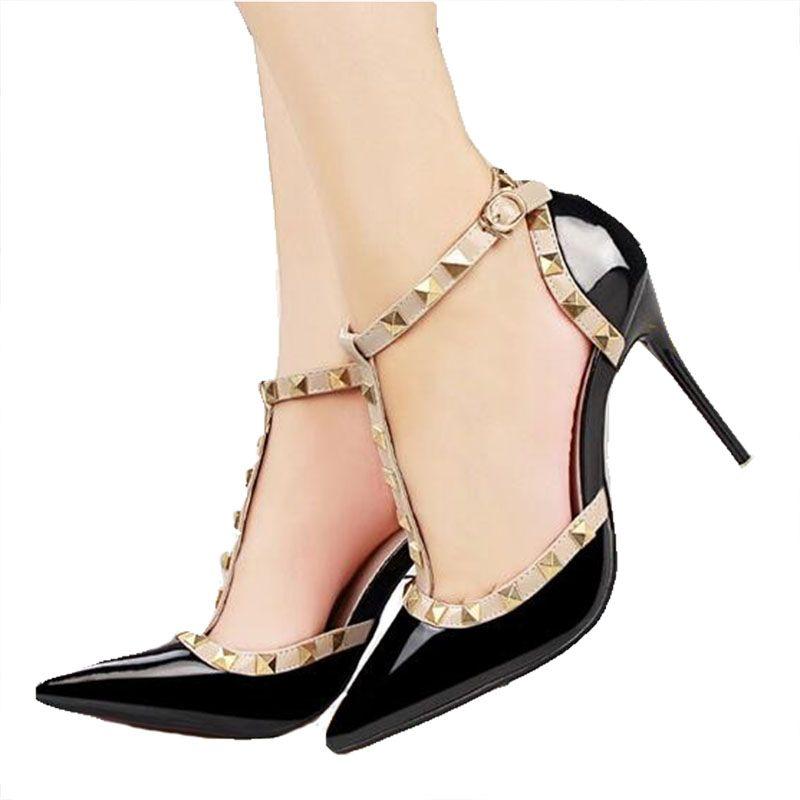 ZHENZHOU 10CM pompes femme été chaussures pour femmes mode femme sandales rivet métal décoration pu cuir femmes talons hauts