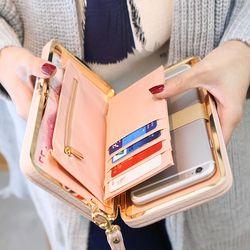 Кошелек с бантом для женщин знаменитый женский кошелек бренд, с отделением для карт, мобильный телефон карманный, из искусственной кожи Жен...