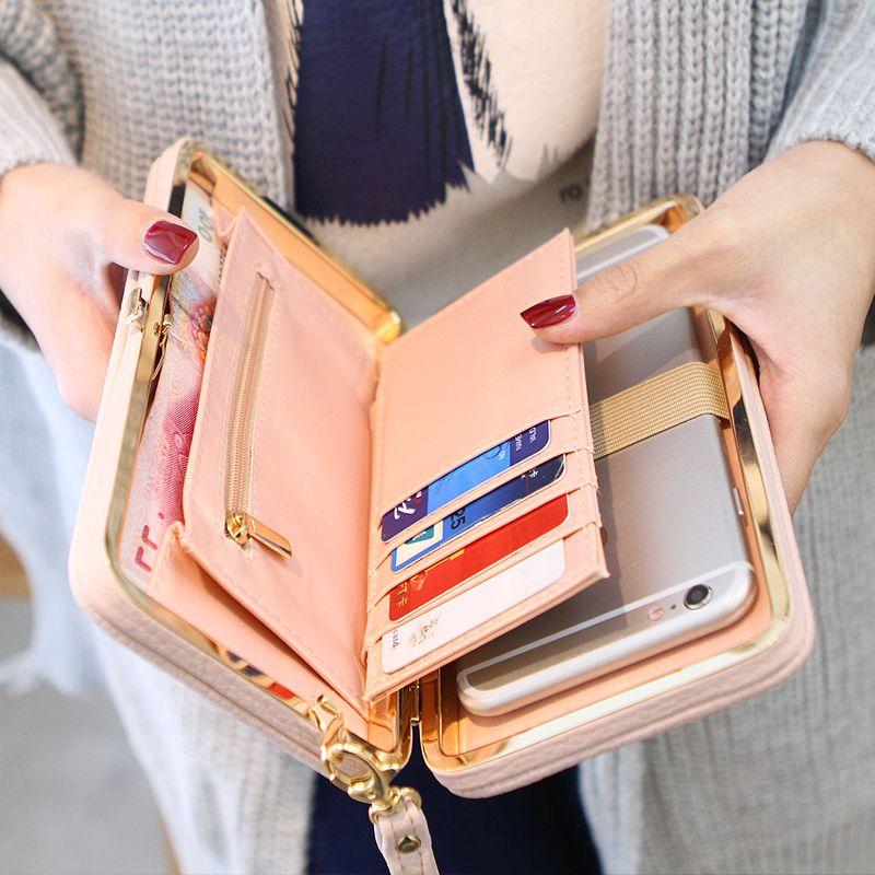Purse bow wallet female famous brand card holders cellphone pocket PU leather women money bag clutch women wallet 505