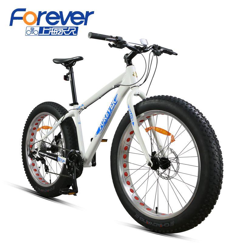 Forever Mountain Bike aluminum alloy frame Snow bicycle double disc brakes big Tires Beach Bike 24 Speed Men & Women Adults X10