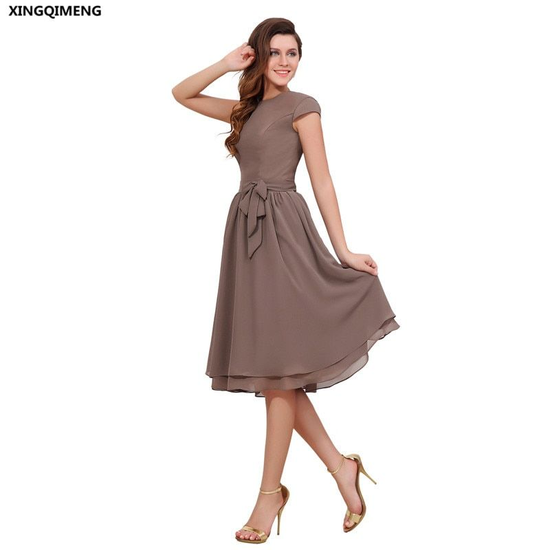 Cheap Simple Evening Dress Elegant Short Evening Dress Cap Sleeve Tea Length Bow Chiffon Formal Party Gowns Buttons