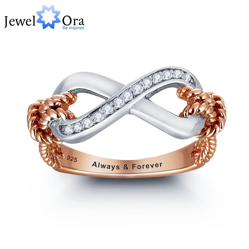 Personalized Ring 925 Sterling Silver Infinity Love Promise Valentine's Day Engraved Gift For Her(JewelOra RI101795)