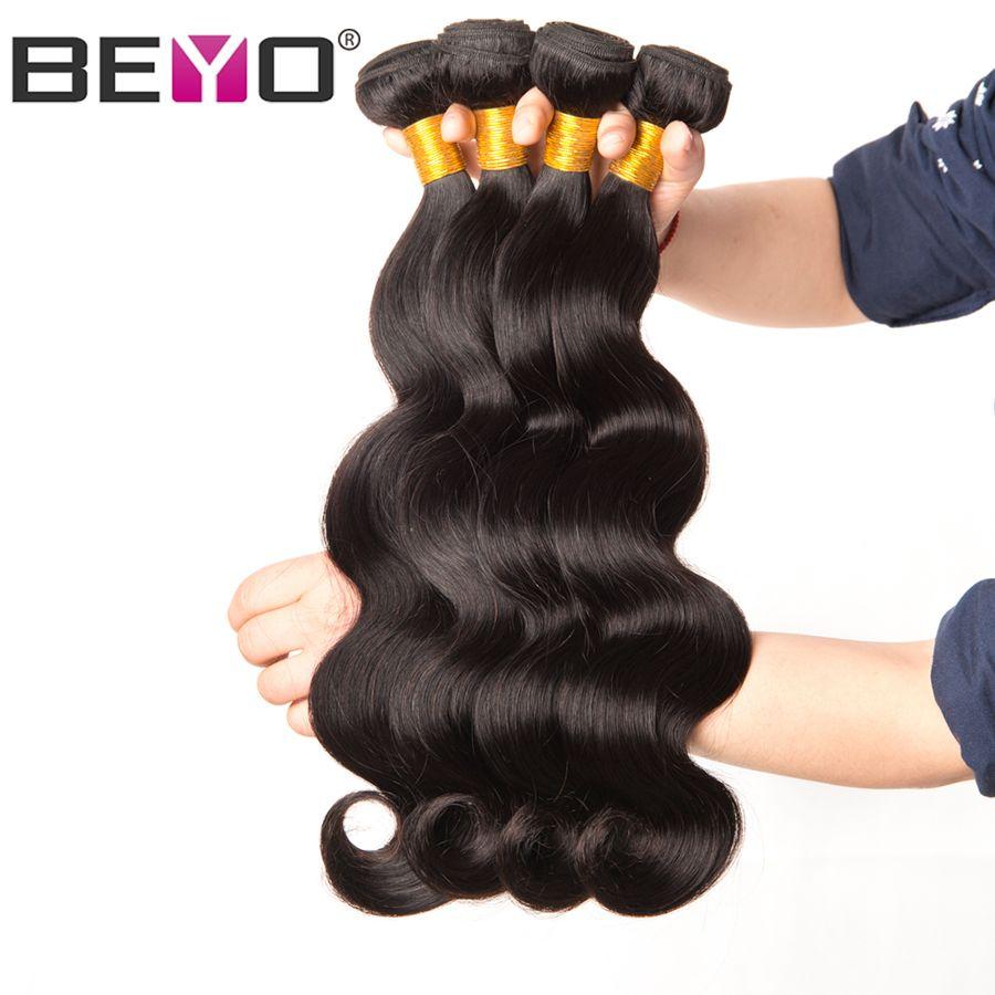 Malaisie Vague de Corps Bundles 100% de Cheveux Humains Faisceaux 10-28 Pouces 1/3/4 Bundle Promos Naturelles couleur Non Remy Cheveux Extension Beyo