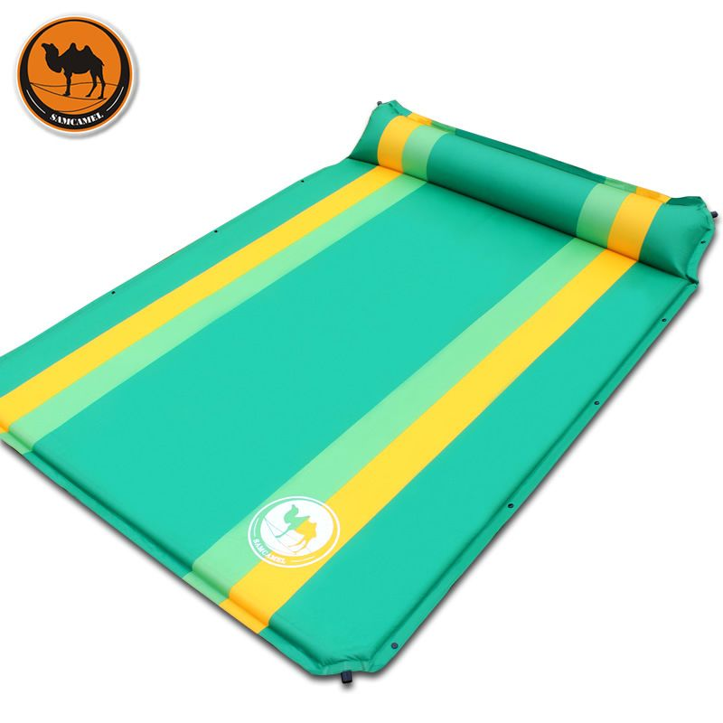 High quality 033-2 3colors couple 2persons automatic inflatable mattress outdoor camping travel cushion PVC thicken widen mat