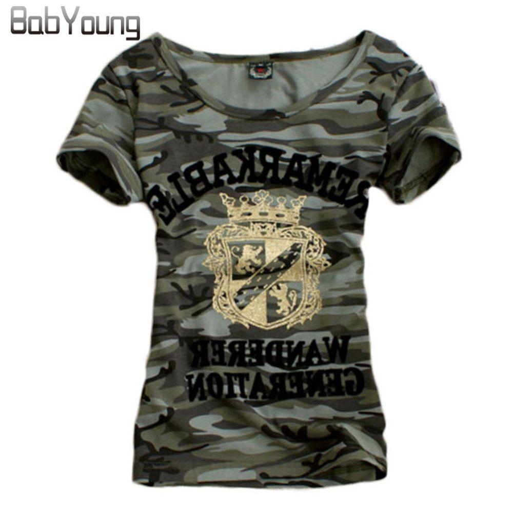 2018 D'été Tops Augmenté Motif T-shirt Femmes Camouflage Militaire Uniforme T-shirt Extensible Chemise Femme Plus La Taille Camisetas Mujer M ~ 4XL