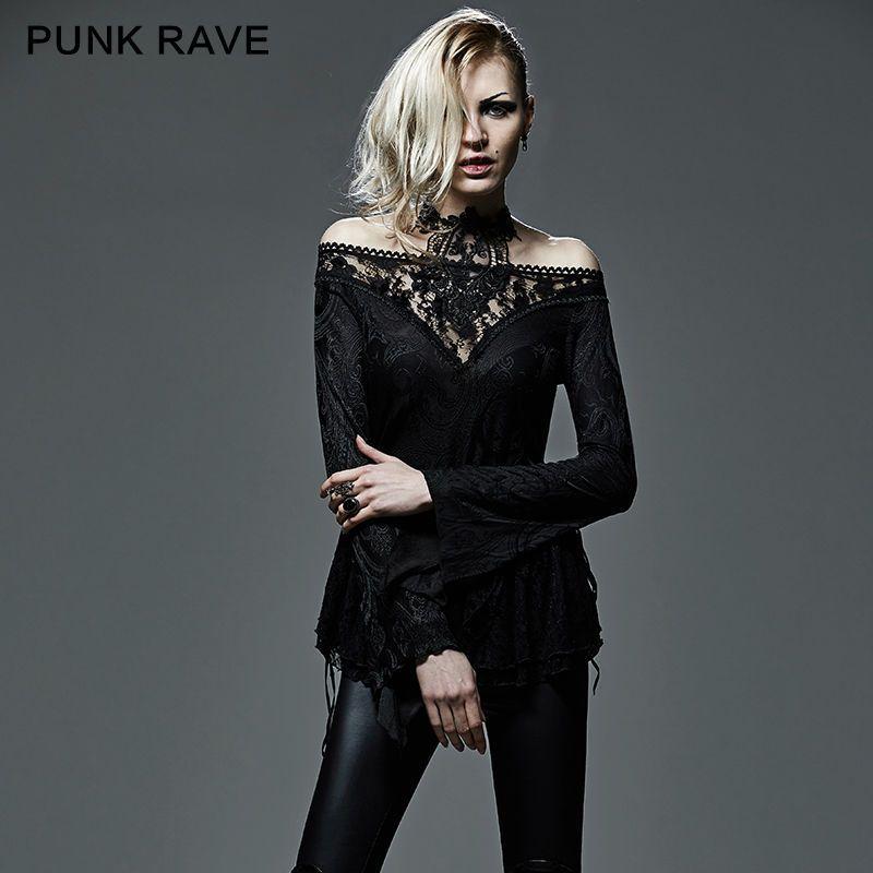 Punk Rockabilly Gothic Strapless V-ausschnitt Aushöhlen Schöne T T-shirt T401
