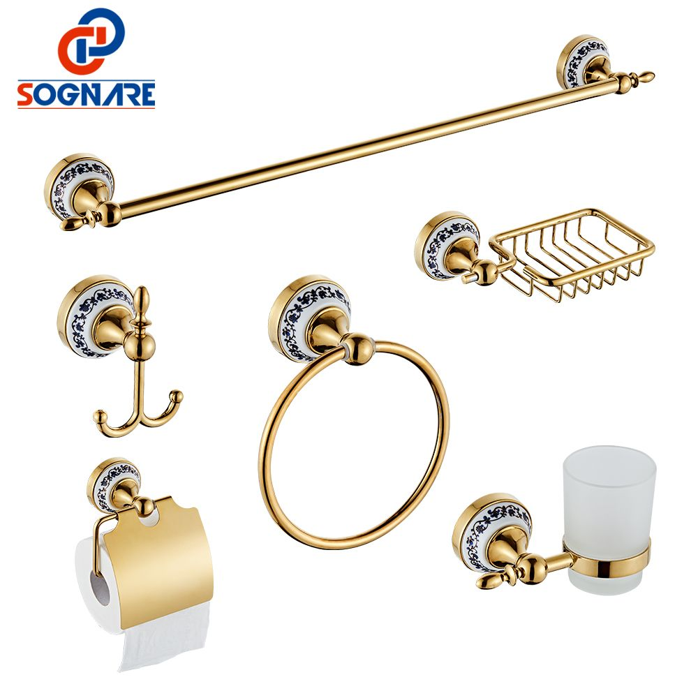 SOGNARE 6pcs Bathroom Accessories Single Towel Bar, Robe Hook, Paper Holder, Cup Holder,Soap Box Set Bath Hardware Sets D1900