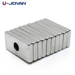 U-JOVAN 10pcs 20 x 10 x 3 mm 4mm Hole N35 Super Strong Rare Earth Ring Block Neodymium Magnet Fridge Magnets