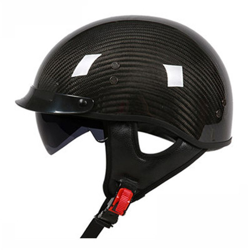 German Pure Carbon Fiber half face motorcycle helmet DOT approved light weight open face helmet with inner sungalsses